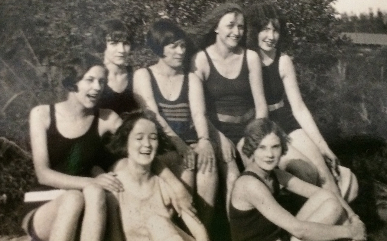 No, this is not a promotional postcard, but a 1923 photo of my mother in Miami Beach. She is the second from the right on top row. These seven Telephone Girls were living the good life in Miami Beach in the Roaring 20's. It would be another 18 years before she became my 'mom.'