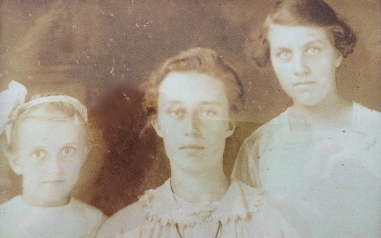 Helen at 8, Edith at 14 and Ethel at 21. My mother is on the left.