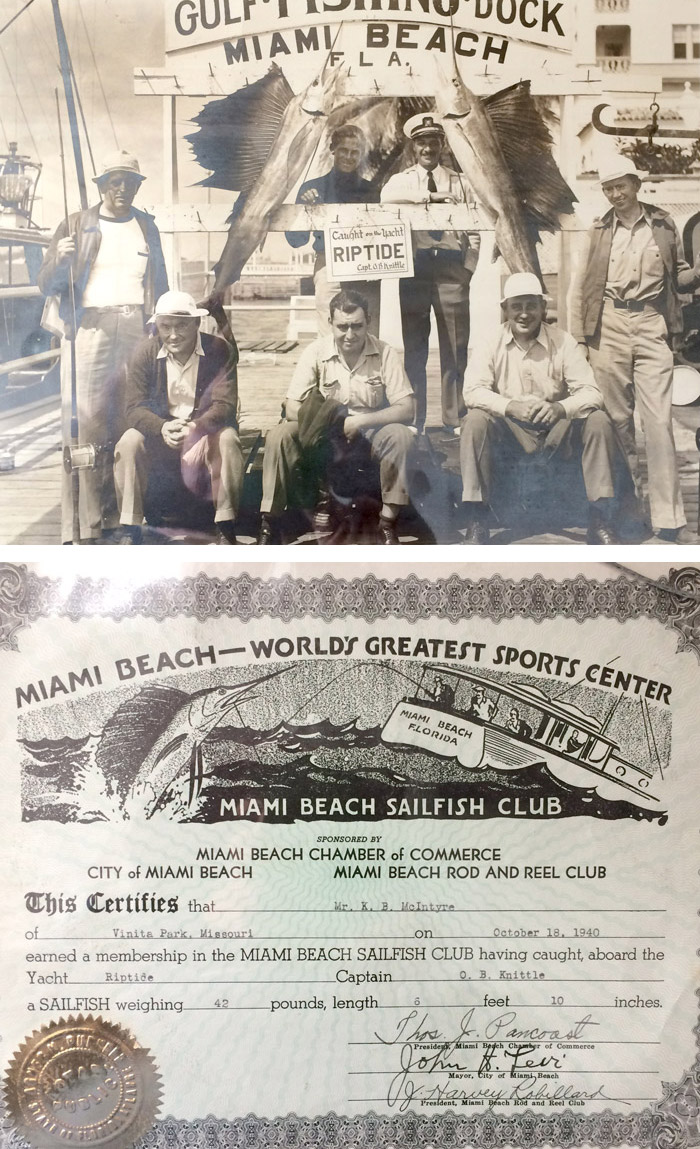 """My dad is on the far right. He seems proud of his 6' 10"""" sail fish landed while fishing on board the Rip Tide, October 18, 1940. The certificate with the photo shows all of the official data with the necessary signatures and even a seal of authenticity. It was a very big deal."""