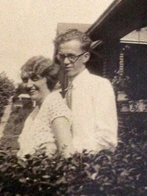 Mom and Dad in Wellington, Kansas sometime in the 1930's.  They relocated often – on to the next town that needed a new telephone office. They rented a furnished place and  settle in for 6-9 months before the next move.
