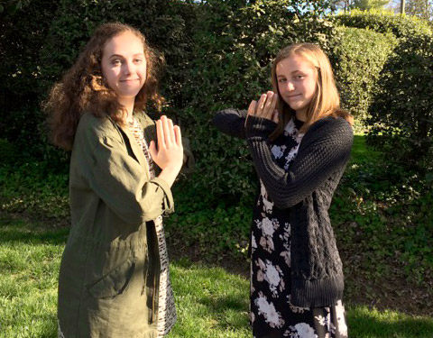 My two granddaughters, Elizabeth and Ellie, share a Namasté greeting. They have always lived this spirit – it is just who they are