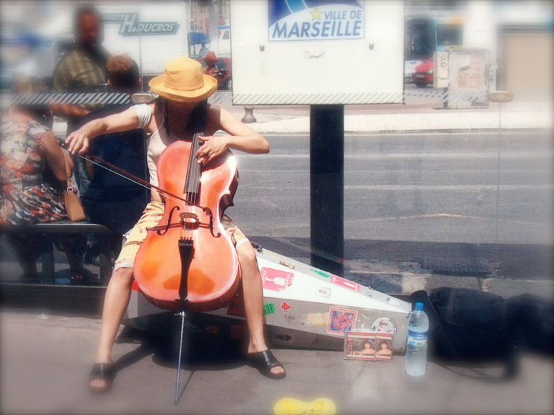 Gretchen's cello took her to Spain and France.