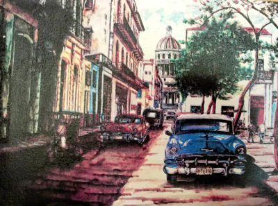 This painting was part of my swag from the National Geographic Society. And yes, cars like these are still in operation in Cuba.