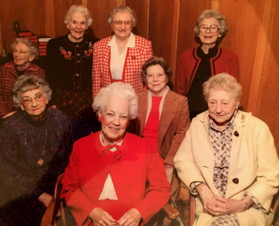 Imagine the stories these eight women could tell from their 720 collective years of life! That's my mom in the red and white checked jacket.